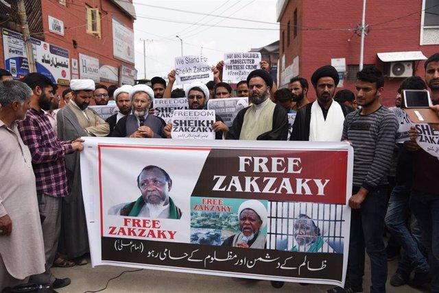 Archivo - Manifestación en India para reclamar la liberación del líder del chií Movimiento Islámico de Nigeria (IMN), Ibrahim el Zakzaky