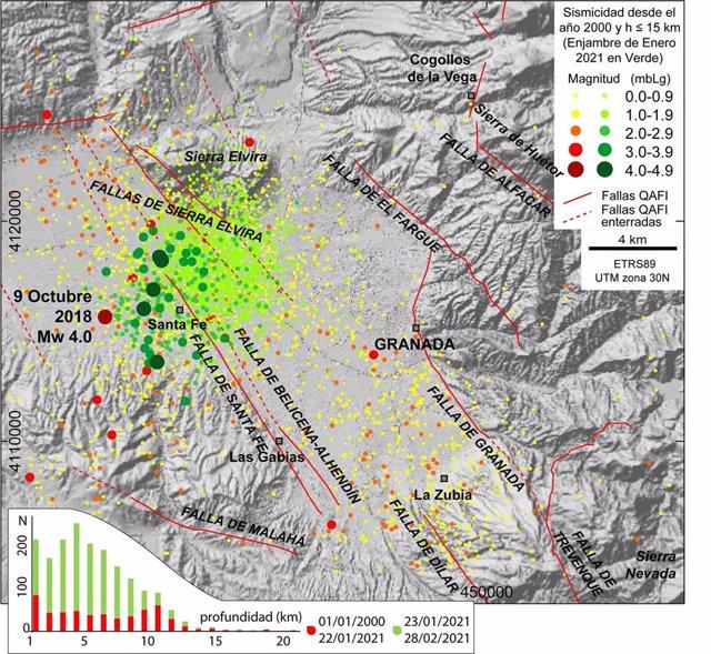 Sismicidad en la zona NE de la Cuenca de Granada a partir de los datos publicados por el Instituto Geográfico Nacional. Localización de las principales fallas del sistema extensional según la base de datos de fallas activas cuaternarias en Iberia.