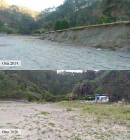 Playa de Otur en 2014 y 2020.