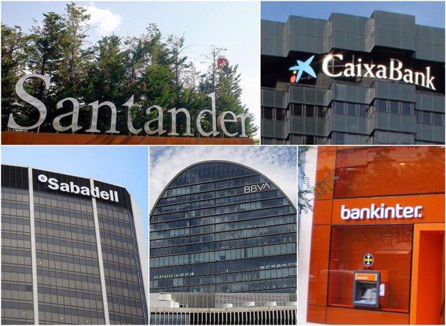 Archivo - Logo de Santander, CaixaBank, BBVA, Sabadell y Bankinter. Resultado atribuido de la gran banca española.