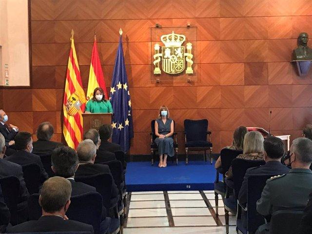 Acto de toma de posesión de la nueva delegada del Gobierno de España en Aragón, Rosa Serrano, con la participación de la ministra de Educación y Formación Profesional, Pilar Alegría
