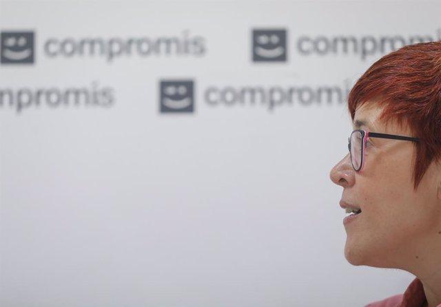 La secretària general de Més Compromís, Àgueda Micó, respon durant una entrevista a Europa Press, a 5 de juliol de 2021, a València, Comunitat Valenciana, (Espanya)