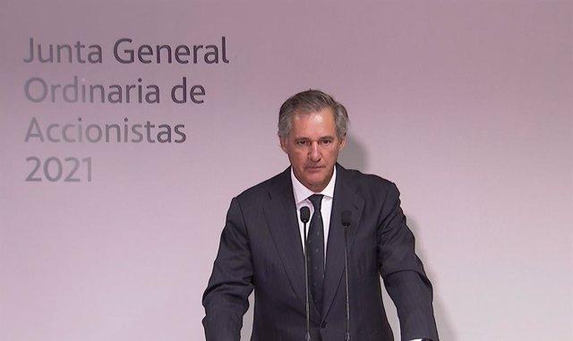 El presidente de Acciona, José Manuel Entrecanales, en la junta de accionistas de 2021