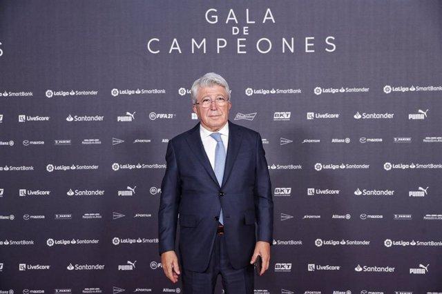 El presidente del Atlético de Madrid, Enrique Cerezo, en la Gala de Campeones de LaLiga