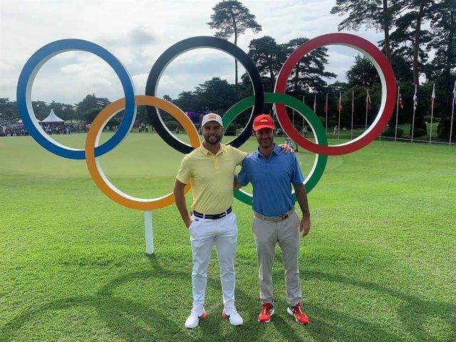 Els golfistes Adri Arnaus i Jorge Campillo, representants espanyols en els Jocs de Tòquio 2020.