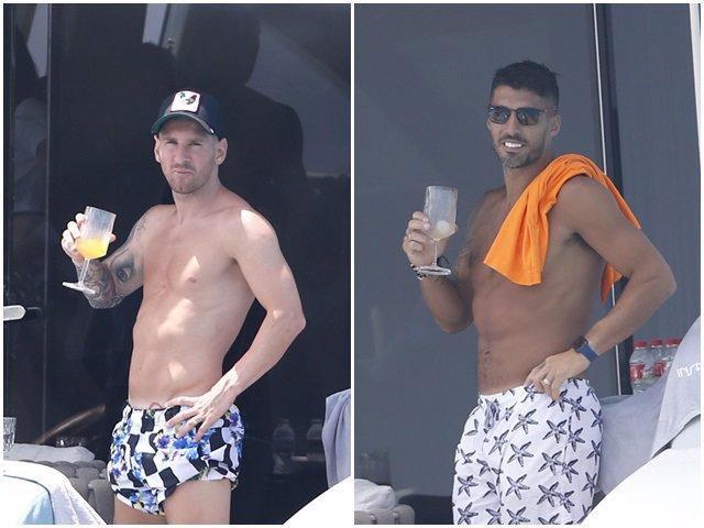 Leo Messi y Luis Suárez a bordo de un Yate en alta mar.