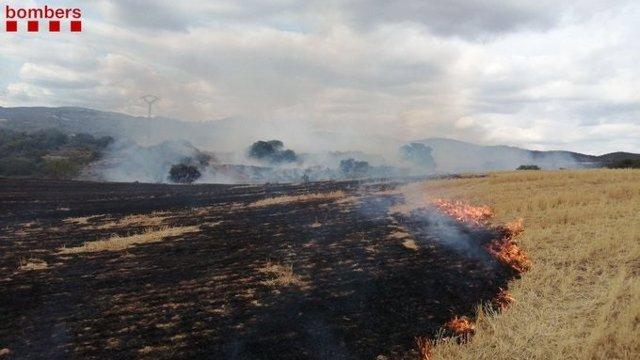 Los Bomberos trabajan en un incendio de rastrojos entre Cubells y Montgai (Lleida).