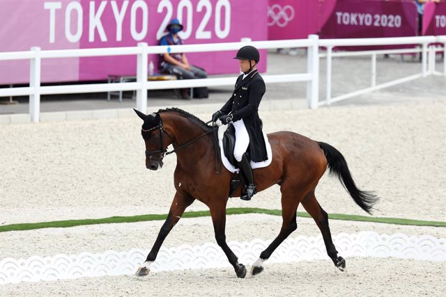 31 July 2021, Japan, Tokyo: Germany's Michael Jung riding on Chipmunk FRH, competes in the Eventing Dressage Individual Equestrian competition, during the Tokyo 2020 Olympic Games at the Baji Koen Equestrian Park. Photo: Friso Gentsch/dpa