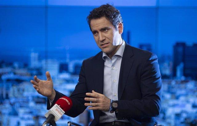 El secretario general del PP, Teodoro García Egea, durante una entrevista concedida a Europa Press. En Madrid, a 29 de junio de 2021.