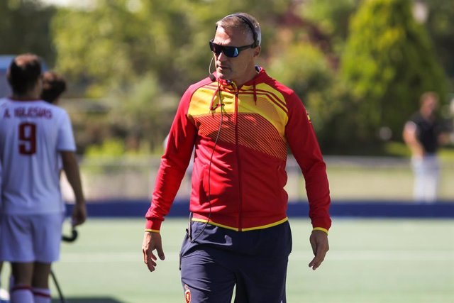 Frederic Soez, head coach of Spain during friendly hockey match played between Spain and Netherlands at Club de Campo Villa de Madrid on July 15, 2021 in Madrid, Spain.