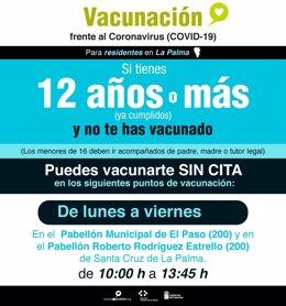 Cartela con información sobre la vacunación en La Palma