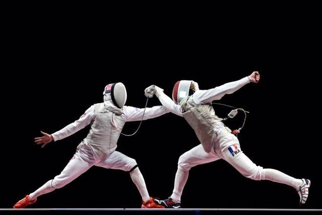 Combate entre el equipo de Francia, ganador de la prueba de florete por equipos, y el equipo del Comité Olímpico Ruso (ROC) en los Juegos Olímpicos de Tokyo 2020