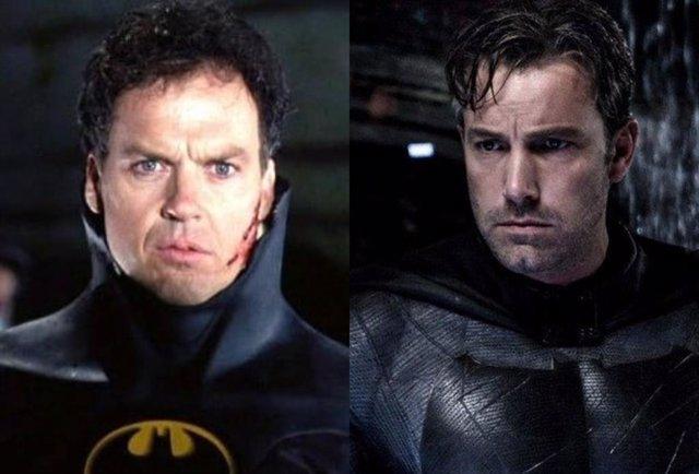 Michael Keaton y Ben Affleck como Batman