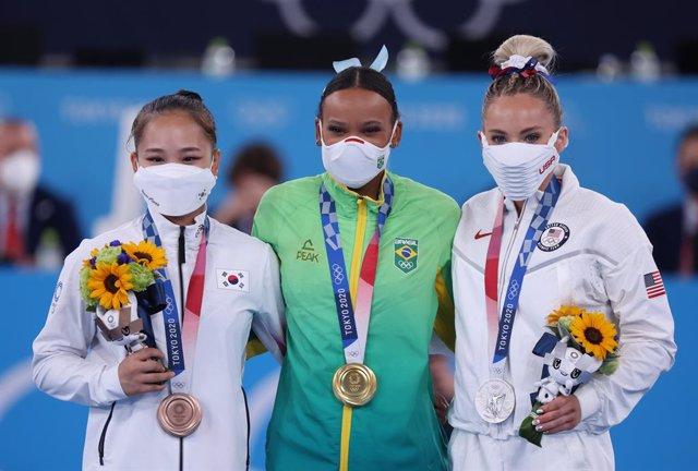 La gimnasta brasilera Rebeca Andrade, campiona olímpica en salt