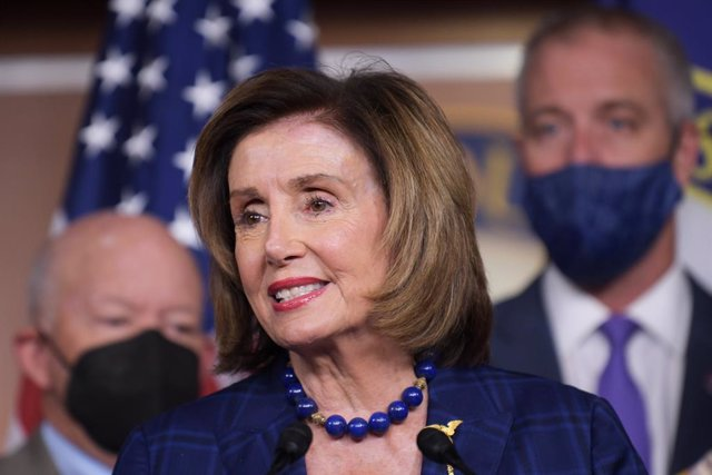 30 July 2021, US, Washington: USSpeaker of the House Nancy Pelosi, along with Democratic leaders, holds a press conference about House Democrats legislative agenda at the US Capitol. Photo: Lenin Nolly/ZUMA Press Wire/dpa