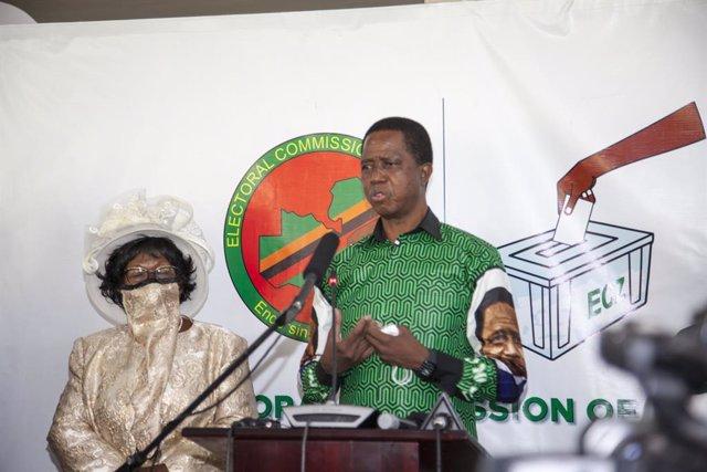 Archivo - El presidente de Zambia, Edgar Lungu.