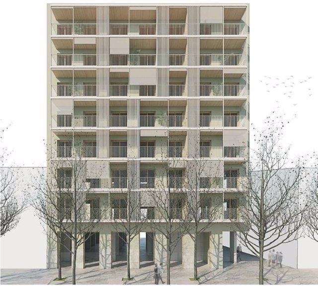 Projecte guanyador de la licitació de la construcció d'habitatge social en el número 477 del Carrer Pallars de Barcelona.