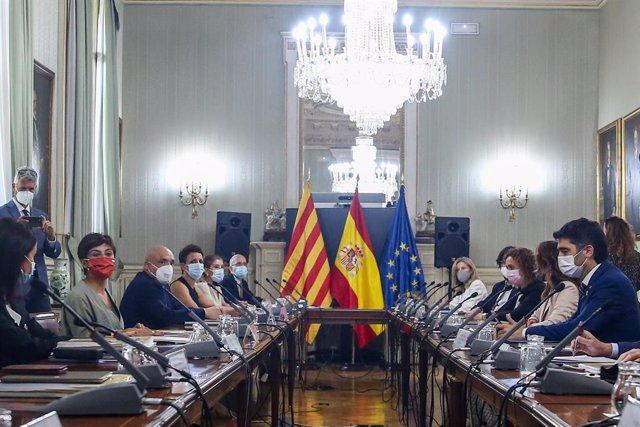 Vista general dels assistents que participen en la Comissió Bilateral Generalitat de Catalunya - Estat a la seu del Ministeri, a Madrid
