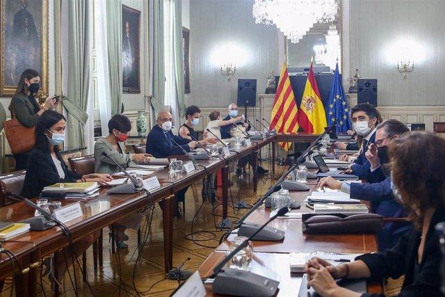 Vista general de los asistentes que participan en la Comisión Bilateral Generalitat de Catalunya - Estado, a 2 de agosto de 2021, en la sede del Ministerio, en Madrid (España). La comisión bilateral se reúne hoy después de tres años de no hacerlo y se cel