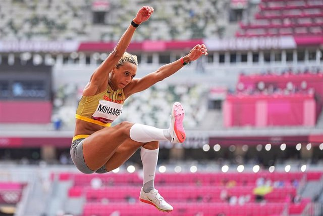 03 August 2021, Japan, Tokyo: Germany's Malaika Mihambo in action during the Women's Long Jump Final of the athletics competition at the Olympic Stadium during the Tokyo 2020 Olympic Games. Photo: Michael Kappeler/dpa