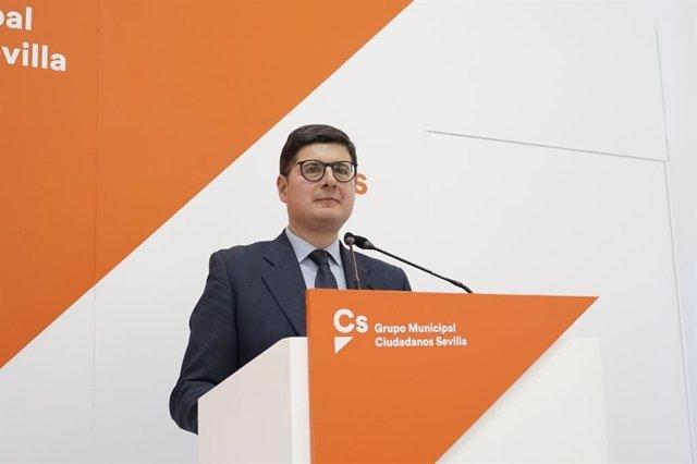 Archivo - El portavoz de Cs, Álvaro Pimentel, en la sede de su formación.