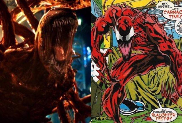 Matanza en Venom 2 y en el cómic
