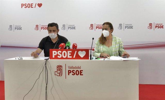 Virginia Barcones comparece junto al portavoz del PSOE en la Diputación de Valladolid, Francisco Ferreira.