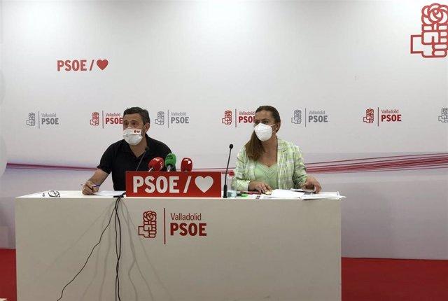 El portavoz del Grupo Provincial Socialista en la Diputación de Valladolid, Francisco Ferreira, y la vicesecretaria general del PSOECyL, Virginia Barcones, en rueda de prensa.