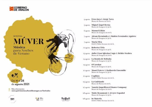 El miércoles, 4 de agosto, salen a la venta las entradas del IV Festival Múver, 'Música para noches de verano'