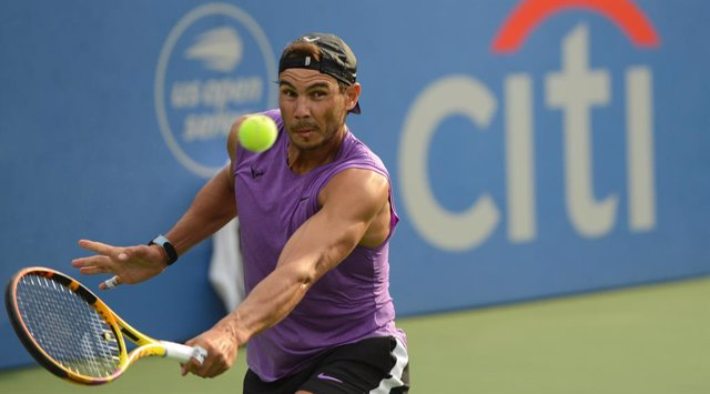 31 July 2021, US, Washington: Spanish tennis player Rafael Nadal in action during a practice session at the Citi Open tennis tournament. Photo: Christopher Levy/ZUMA Press Wire/dpa