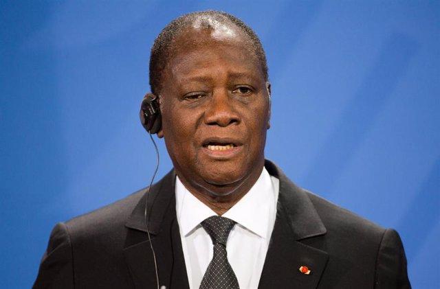 Archivo - El presidente de Costa de Marfil, Alassane Ouattara