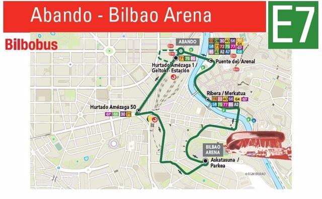 Plano de la lanzadera de Bilbobus.