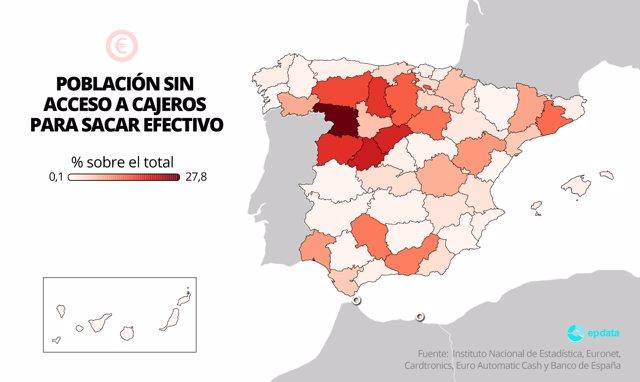 Casi 1,2 millones de personas no tienen punto de acceso al efectivo en su municipio, según Banco de España
