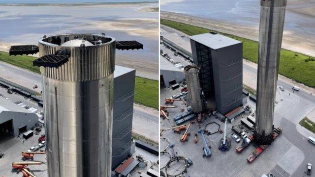 Aspecto del primer propulsor Super Heavy en el sitio de lanzamiento de Space X