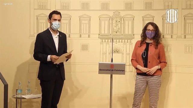 La consellera d'Igualtat i Feminismes de la Generalitat, Tània Verge, i el Conseller d'empresa i Treball, Roger Torrent