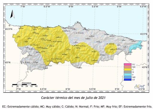 Caracter térmico del mes de julio según la Aemet.
