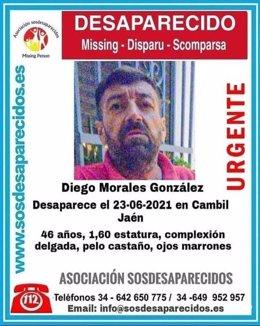 Cartel sobre la desaparición del vecino de Cambil.
