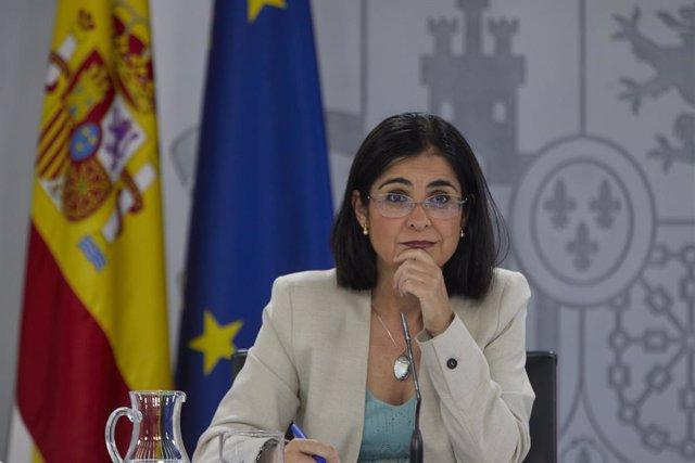 La ministra de Sanitat, Carolina Darias, durant la roda de premsa posterior al Consell Interterritorial del Sistema Nacional de Salut, a 28 de juliol de 2021, en La Moncloa, Madrid, (Espanya).