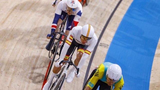 El pistard español Albert Torres en la prueba de puntuación de Ómnium, cita en la que finalizó décimo en los Juegos Olímpicos de Tokyo 2020