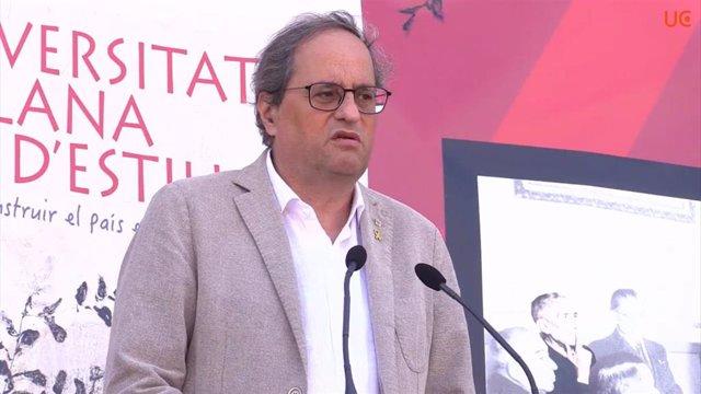 Archivo - El presidente de la Generalitat, Quim Torra, clausura la 52 Universitat Catalana d'Estiu (UCE) en Prada de Conflent (Francia) el 23/8/2020. Foto de archivo