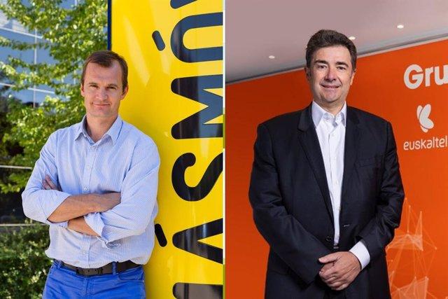 Archivo - El consejero delegado de Más Móvil, Meinrad Spenger (i), y el consejero delegado de Euskaltel, José Miguel García.
