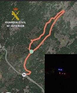 Itinerario del rescate de los senderistas