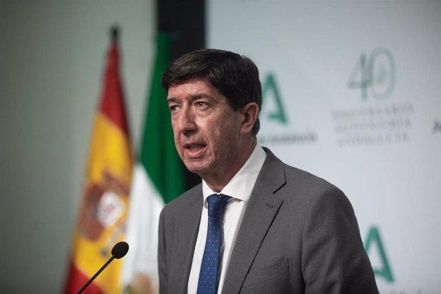 El vicepresidente de la Junta y consejero de Turismo, Juan Marín, en una imagen de 27 de julio.