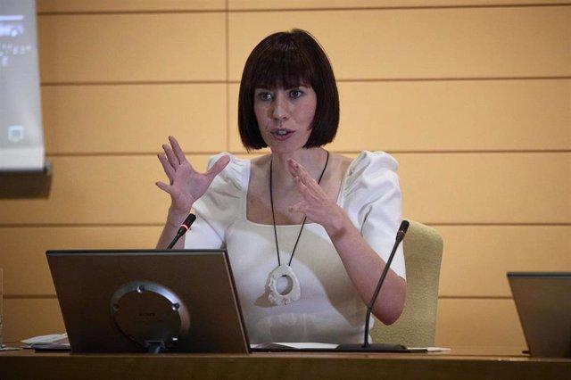 La ministra de Ciencia e Innovación, Diana Morant, interviene en la presentación de la convocatoria 2021 del programa Misiones Ciencia e Innovación del Centro para el Desarrollo Tecnológico e Industrial (CDTI), a 26 de julio de 2021, en Madrid, (España).