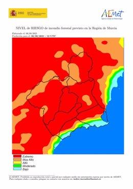 Riesgo incendio en la Región de Murcia