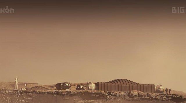 Representación visual en Marte del concpeto Mars Dune Alpha