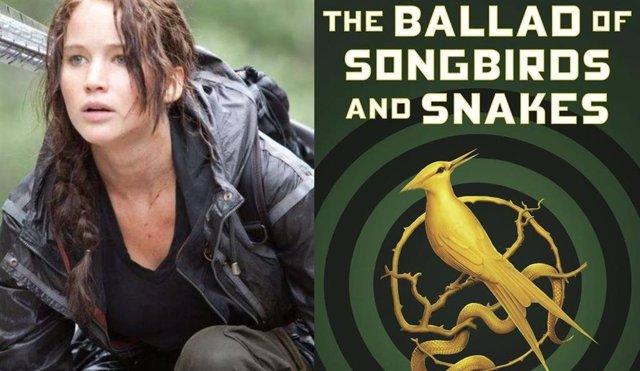 Jennifer Lawrence en Los juegos del hambre y portada de  Balada de pájaros cantores y serpientes