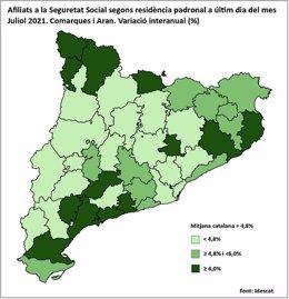 Afiliats de la Seguretat Social a Catalunya a 31 de juliol de 2021.