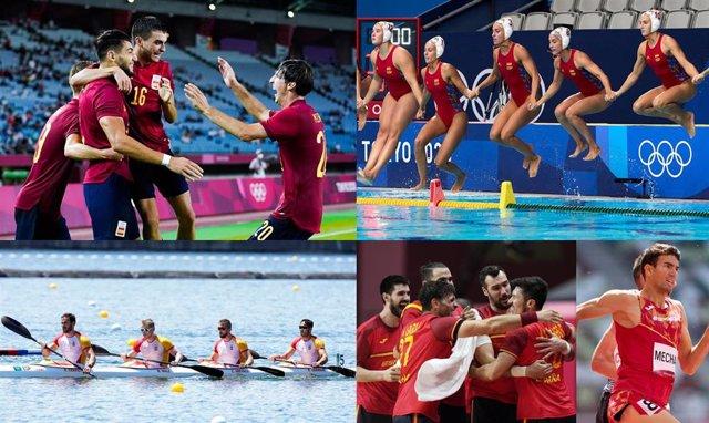 De izquierda a derecha y de arriba abajo, la selección española masculina olímpica de fútbol, la selección femenina de waterpolo, el K4 500 de Craviotto, Walz, Arévalo y Germade, la selección masculina de balonmano y Adel Mechaal