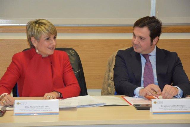 Los coordiandores del programa de Experto en ceremonial y protocolo de CEU Andalucía, Margarita López y Antonio Guillén